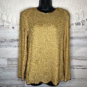 Vintage beaded embellished sparkly silk blouse